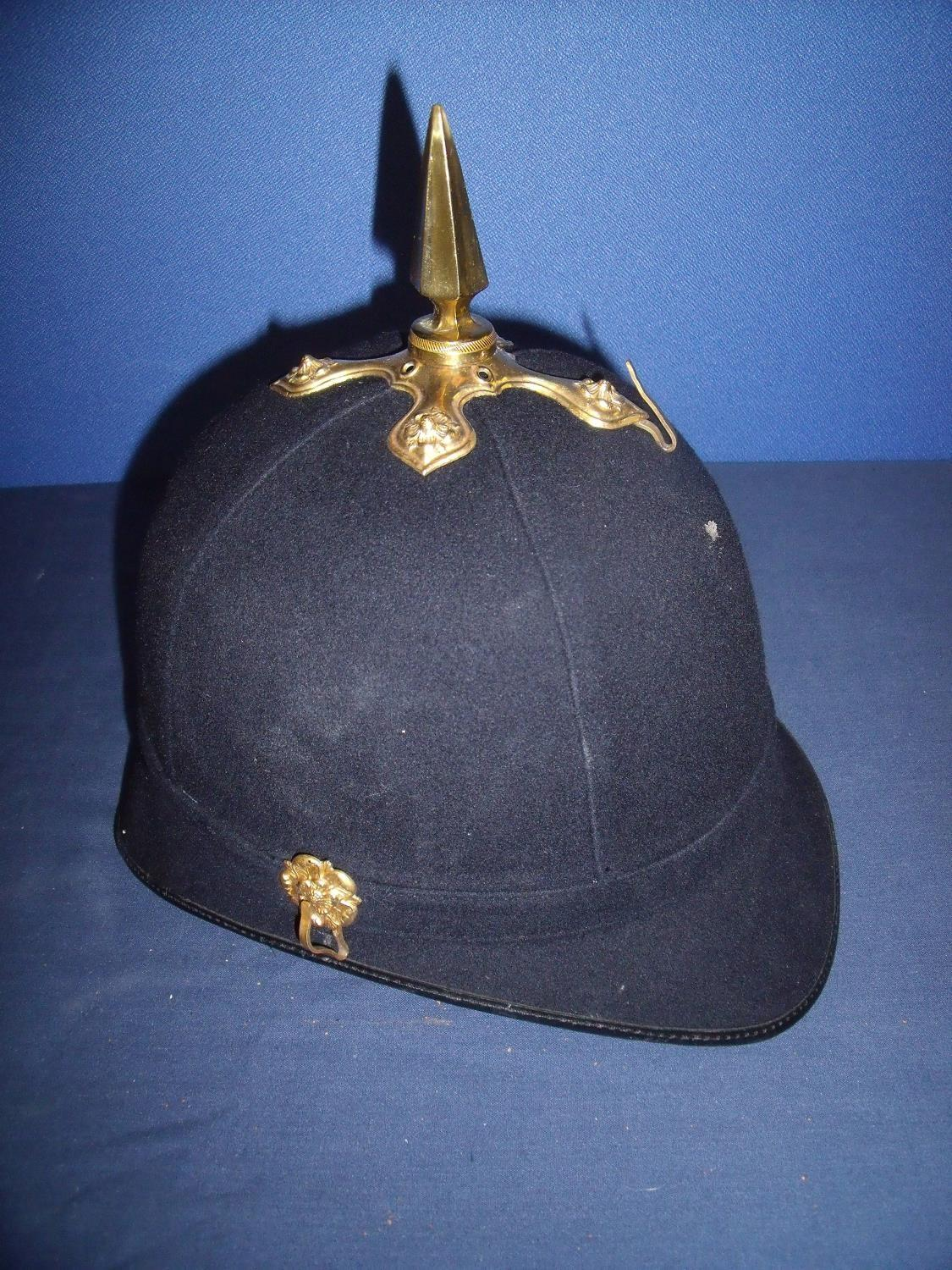 Lot 38 - Quality modern blue cloth Home Service pattern helmet with gilt metal mounts