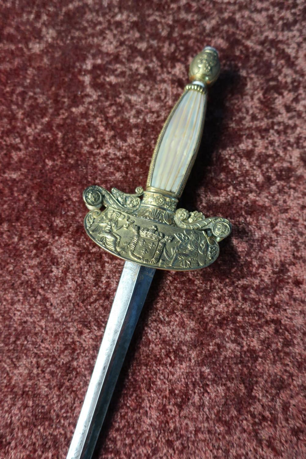 Lot 36 - Continental Court dress style sword with 31 1/2 inch 18th C triangular form blade with engraved