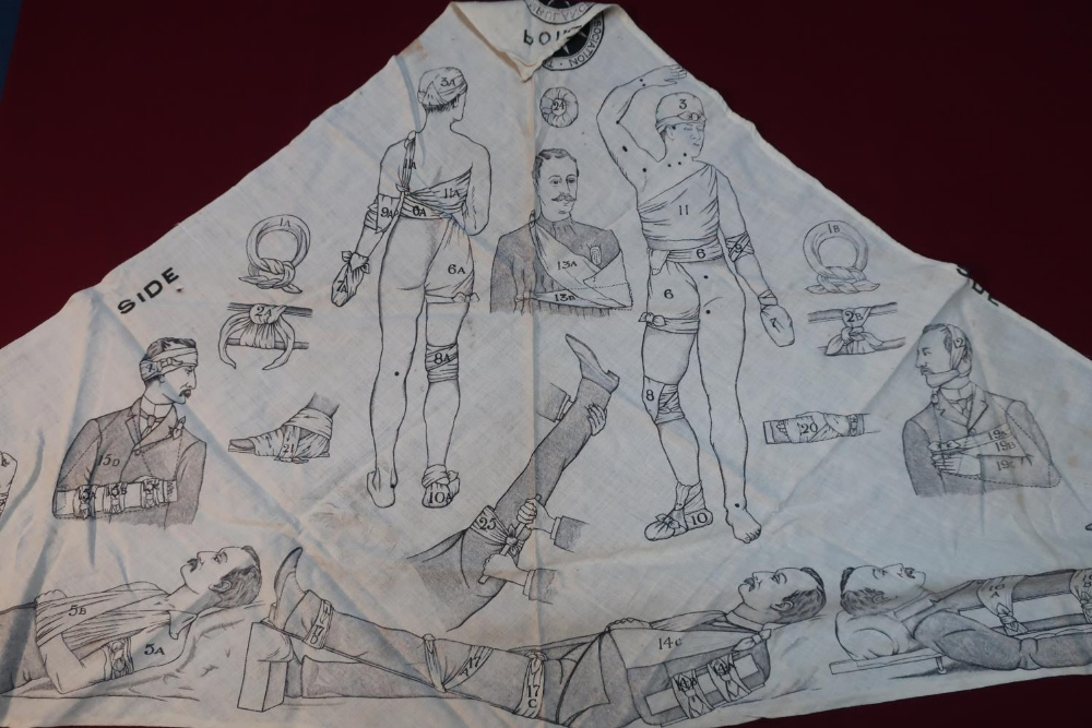 Lot 4 - WWI period St Johns Ambulance illustrated training triangular badge/sling