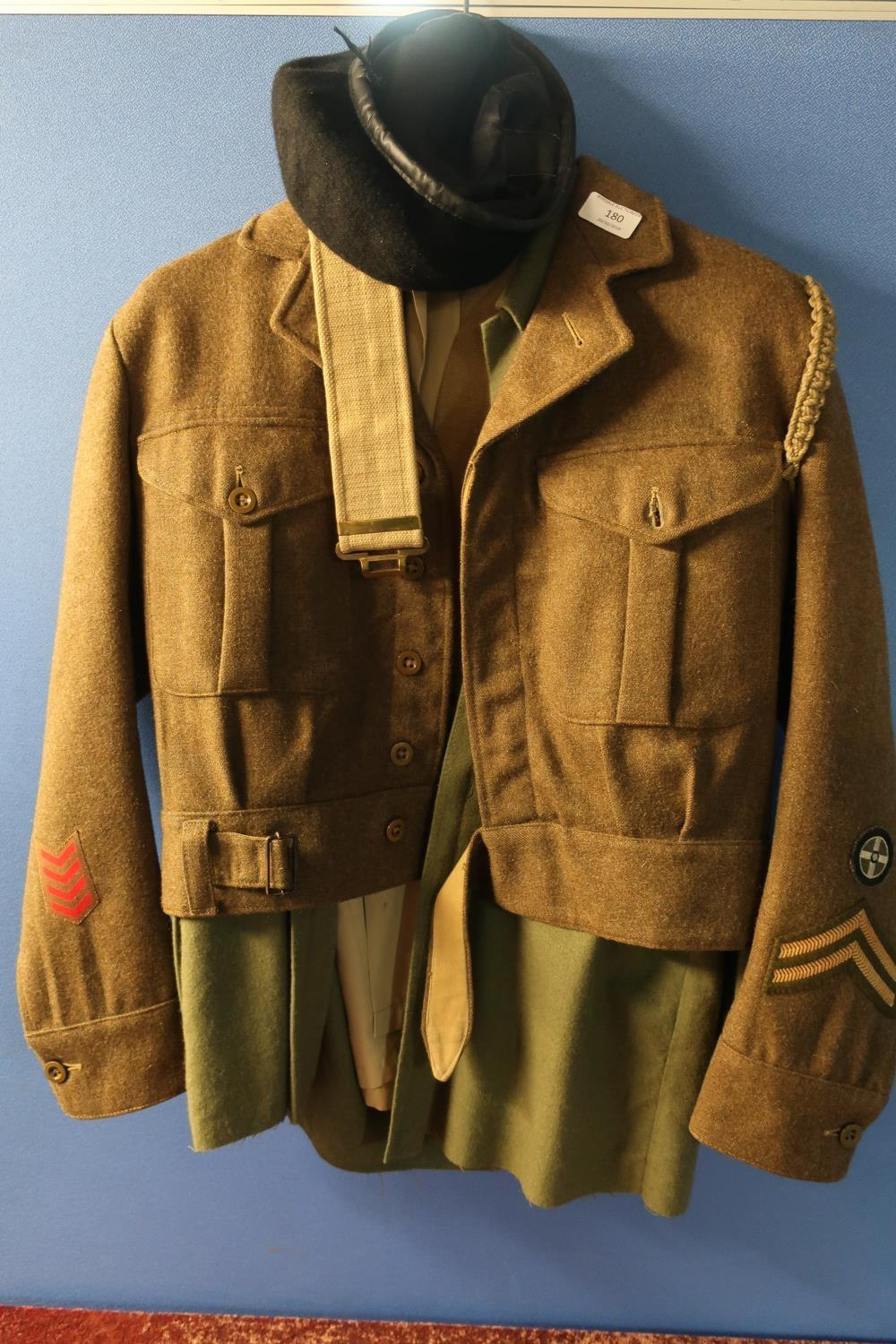 Lot 31 - British Army uniform comprising of shirts, over shirt and battle dress blouse 1949 pattern dated