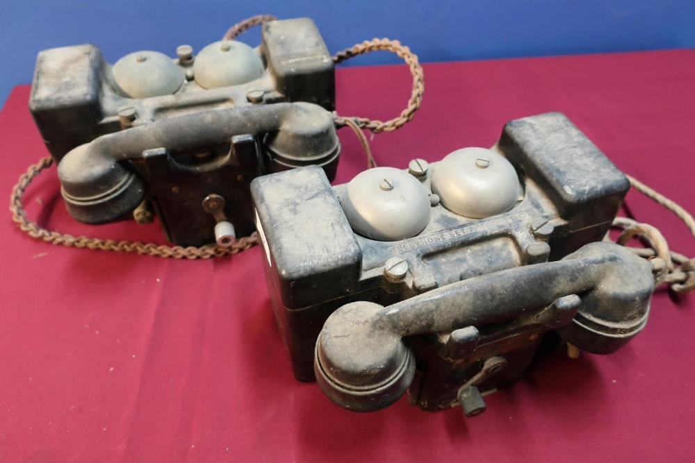 Lot 32 - Two field telephone sets MKII by TMC & PL (2)