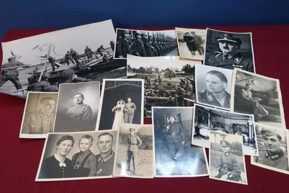 Lot 46 - Collection of German military related photographic prints and similar items including German