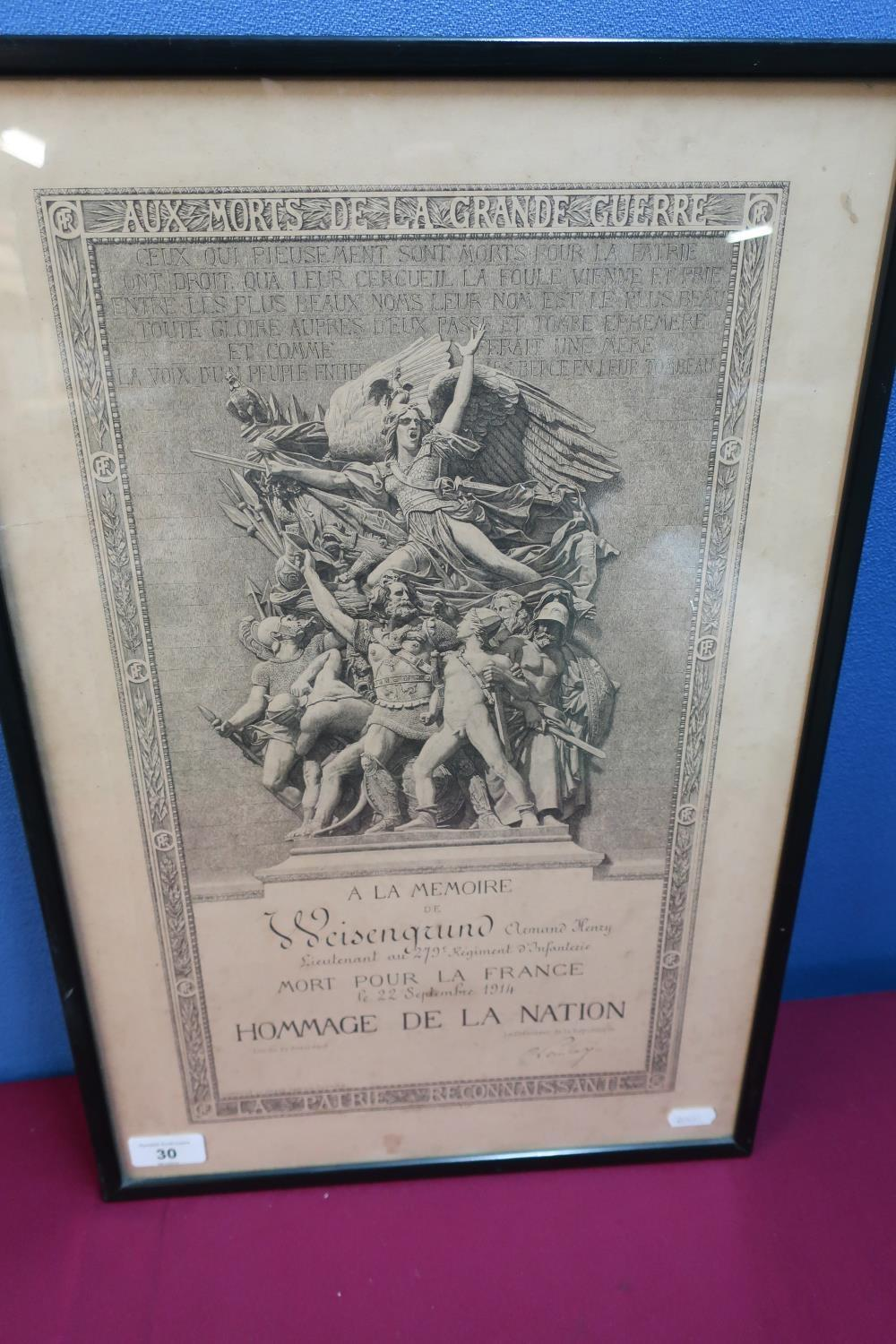 Lot 30 - Framed & mounted French A La Memoire for a Lieutenant in the 279 Regiment Infantry 22nd September