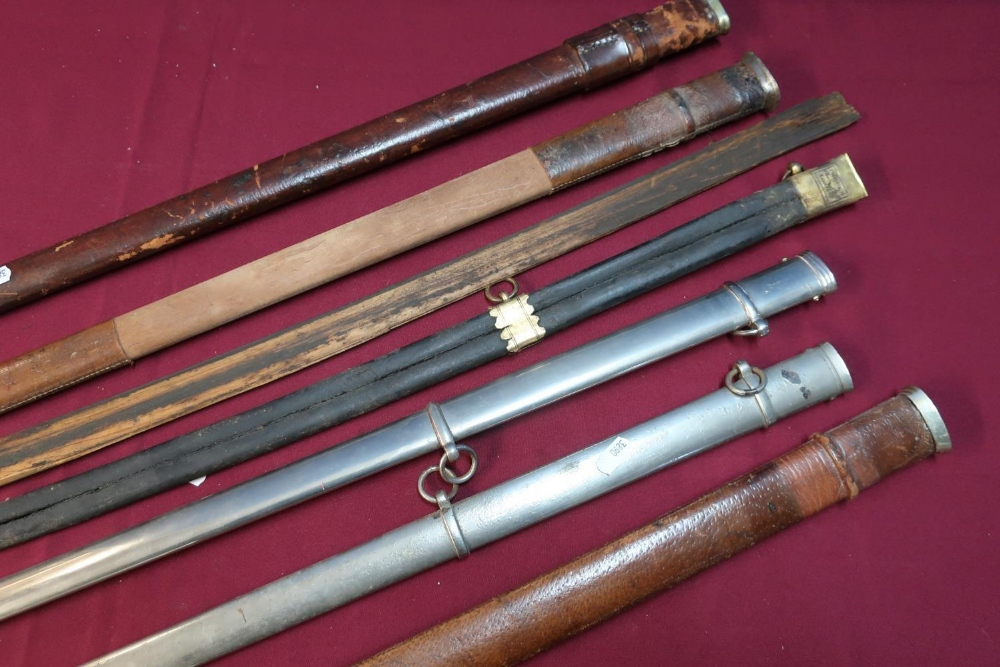 Lot 59 - Selection of Victorian and later sword scabbards including Infantry Officers dress scabbards,