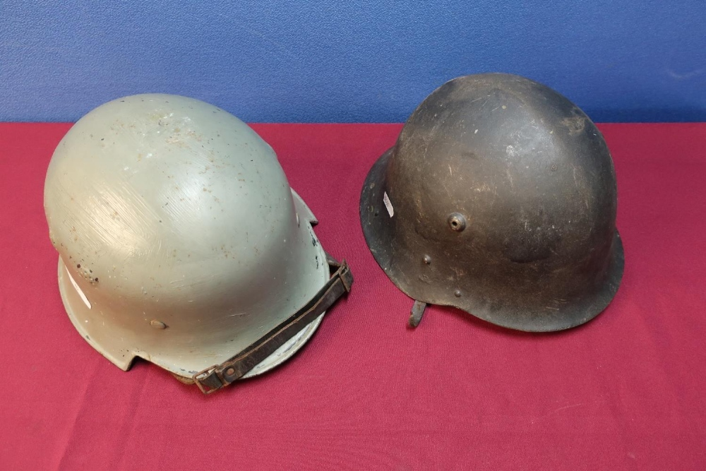 Lot 6 - German Third Reich Civil steel helmet with leather liner and chin strap, with later painted detail
