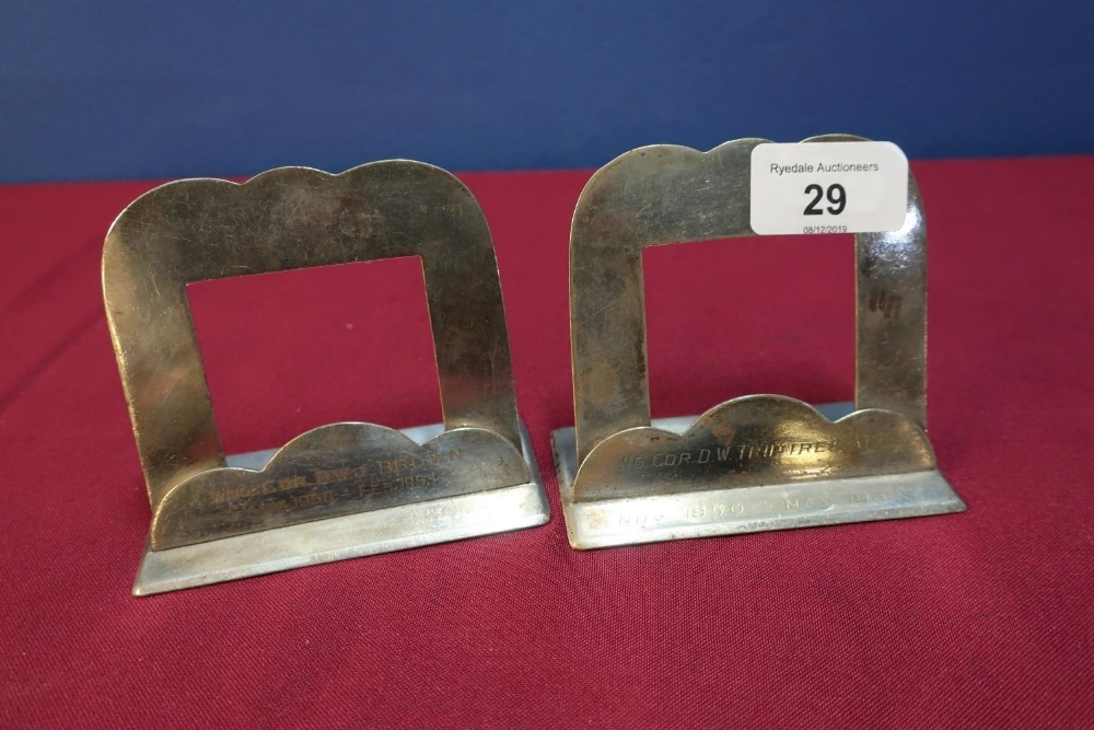 Lot 29 - Two silver plated place name holders, possible from the RAF Club by Harrison Brothers, No. 3479 with