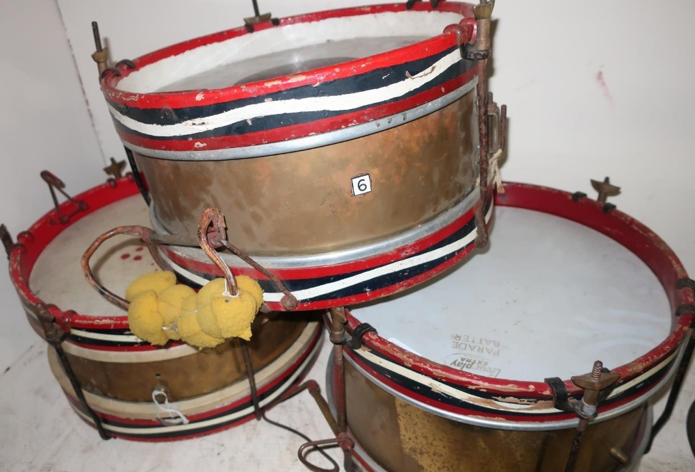 Lot 10 - BUF 'Parade Batter', brass carcass stamped Olympic, snare drum (diameter 37cm), a Remo Weatherking