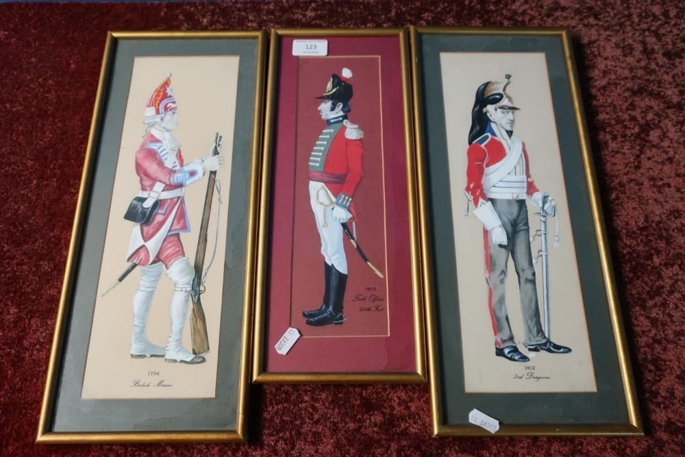 Lot 16 - Three framed and mounted over painted prints of British soldiers from 1812 and 1756