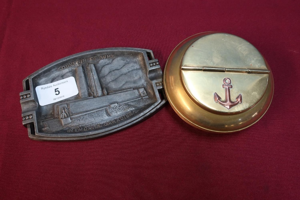 Lot 5 - Brass circular ashtray/cigarette holder with hinged top with anchor and a cast alloy Souvenir De