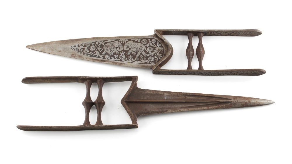 Lot 7 - Property of a gentleman - two Indian katars, one with damascened decoration, the larger 15.75ins. (