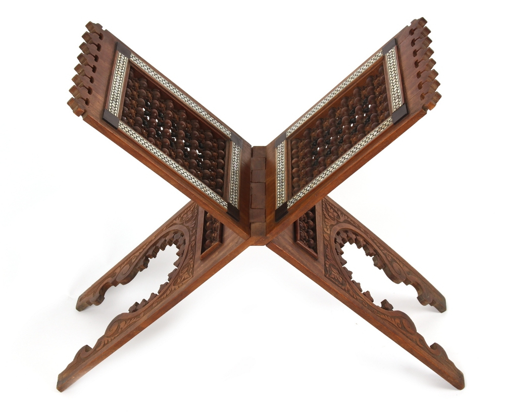 Lot 5 - Property of a gentleman - a late 19th/early 20th century Syrian Damascus carved wood folding Koran