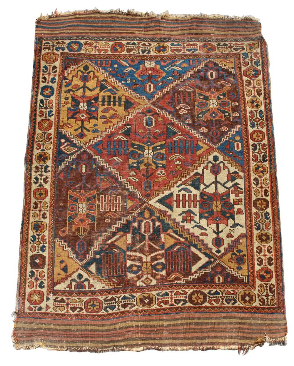Lot 50 - Property of a deceased estate - an early 20th century Caucasian rug with kelim ends, 69 by 47ins. (