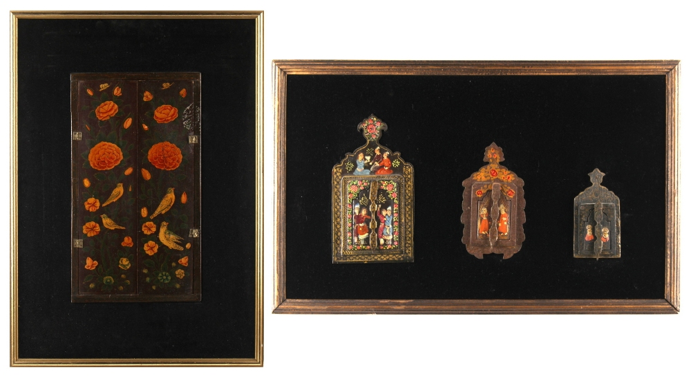Lot 4 - Property of a deceased estate - four Persian painted wood mirrors, each with twin shutters, the