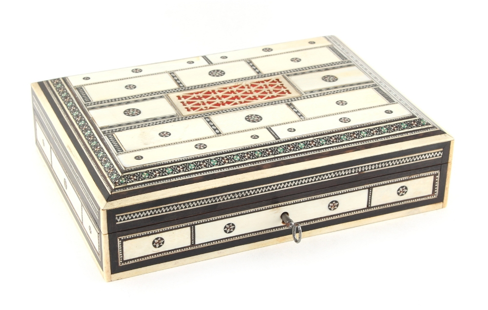 Lot 17 - Property of a lady - a late 19th century Indian sadeli & ivory decorated rectangular box, 8ins. (