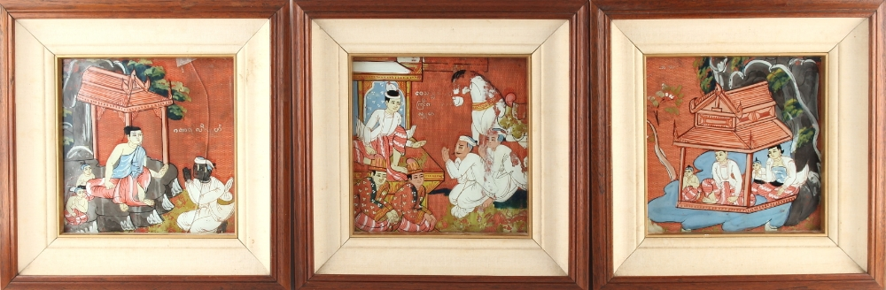 Lot 12 - Property of a lady - a set of three Indonesian paintings on linen depicting figures, in matching