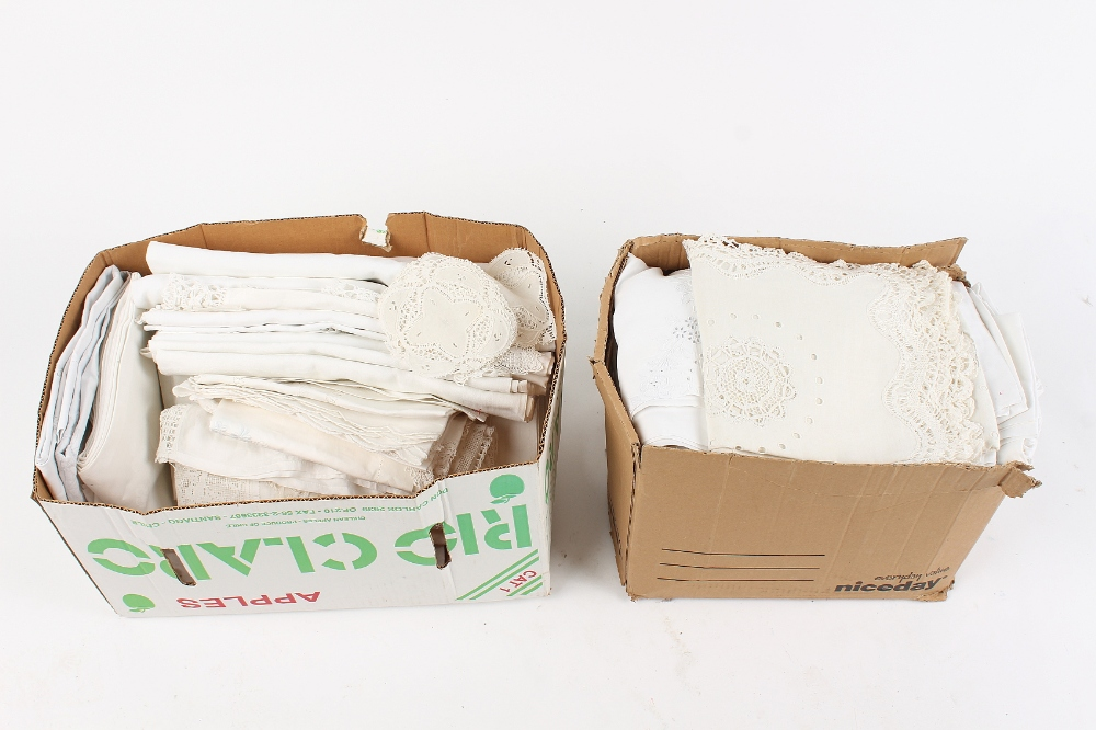 Lot 33 - Property of a deceased estate - two boxes containing damask tablecloths, etc. (2).
