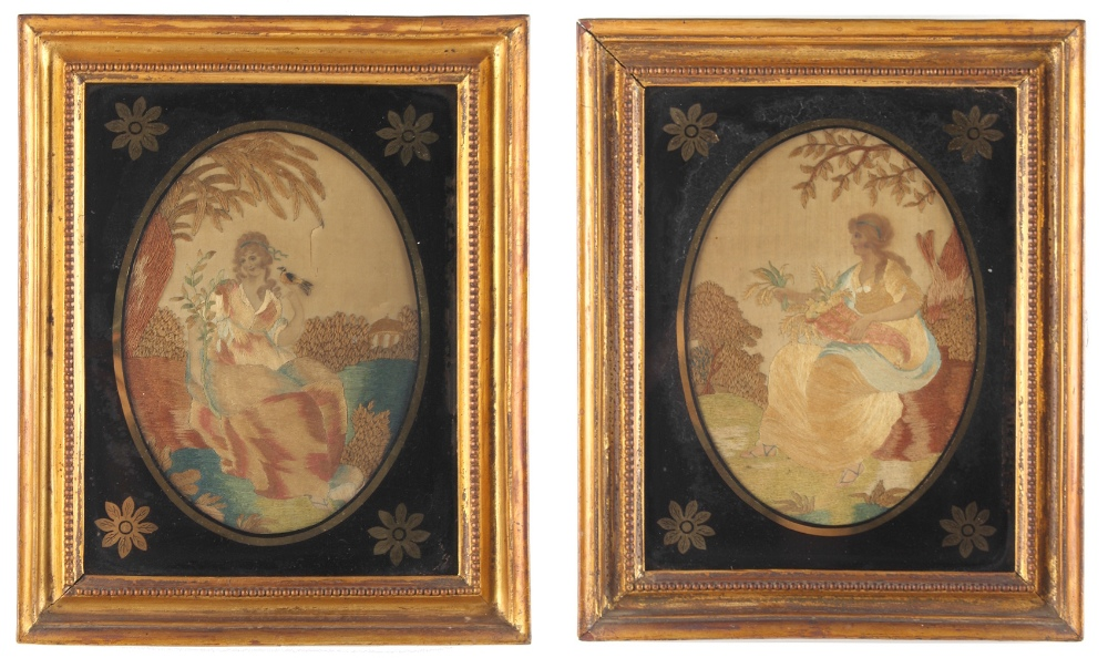 Lot 30 - Property of a deceased estate - a pair of 19th century silkwork pictures depicting maidens in