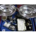 Lot 1277 - A Pair of JS&S Plated Pedestal Dishes, each of oval form on oval base, with ring loop handles, a