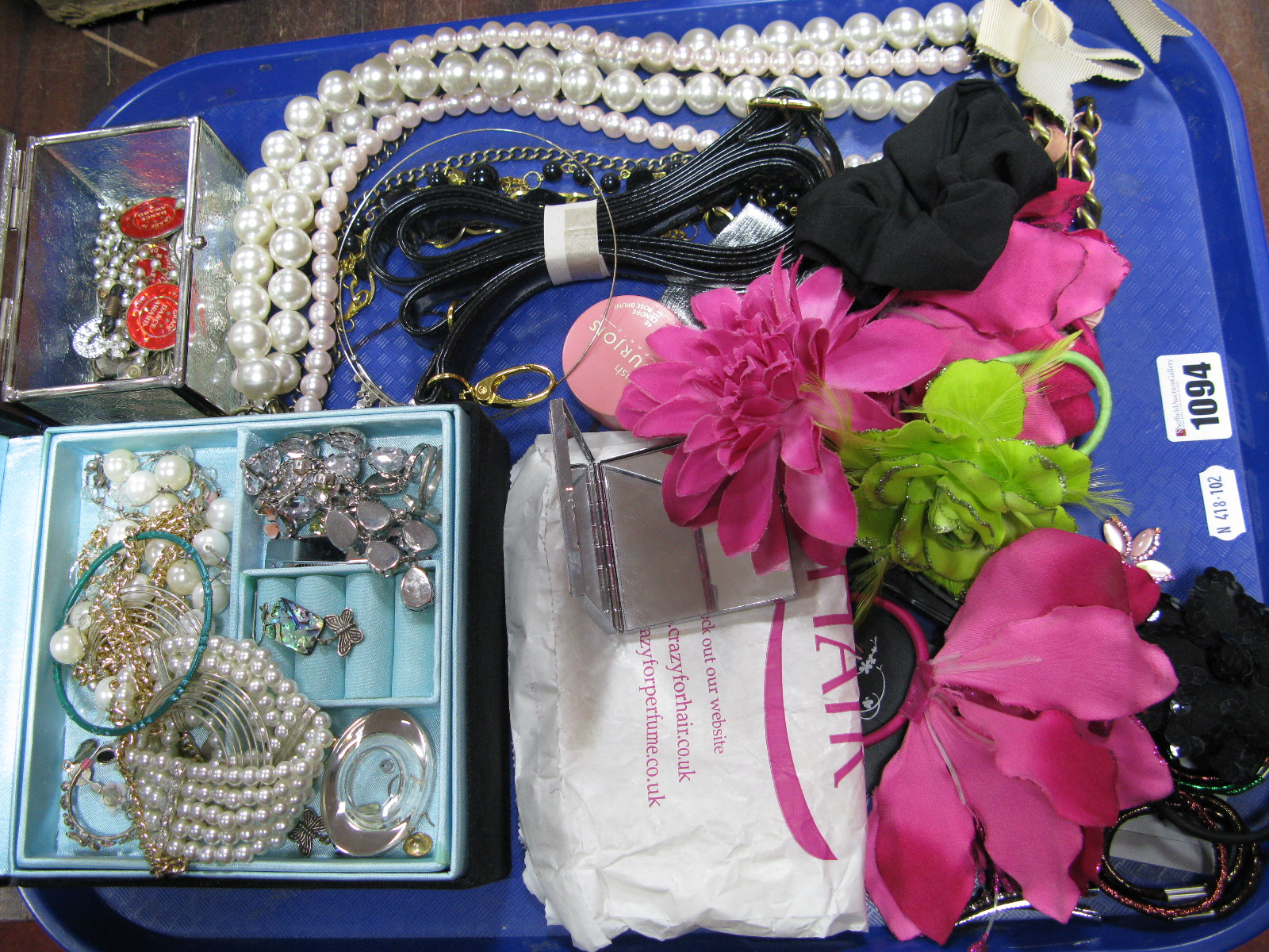 Lot 1094 - A Mixed Lot of Assorted Hair Accessories and Costume Jewellery, etc, including two jewellery boxes:-