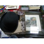 Lot 1104 - J. Smith & Son 'The Record Make' Bowler Hat; two coaching prints, seven Sheffield knives, teapot.
