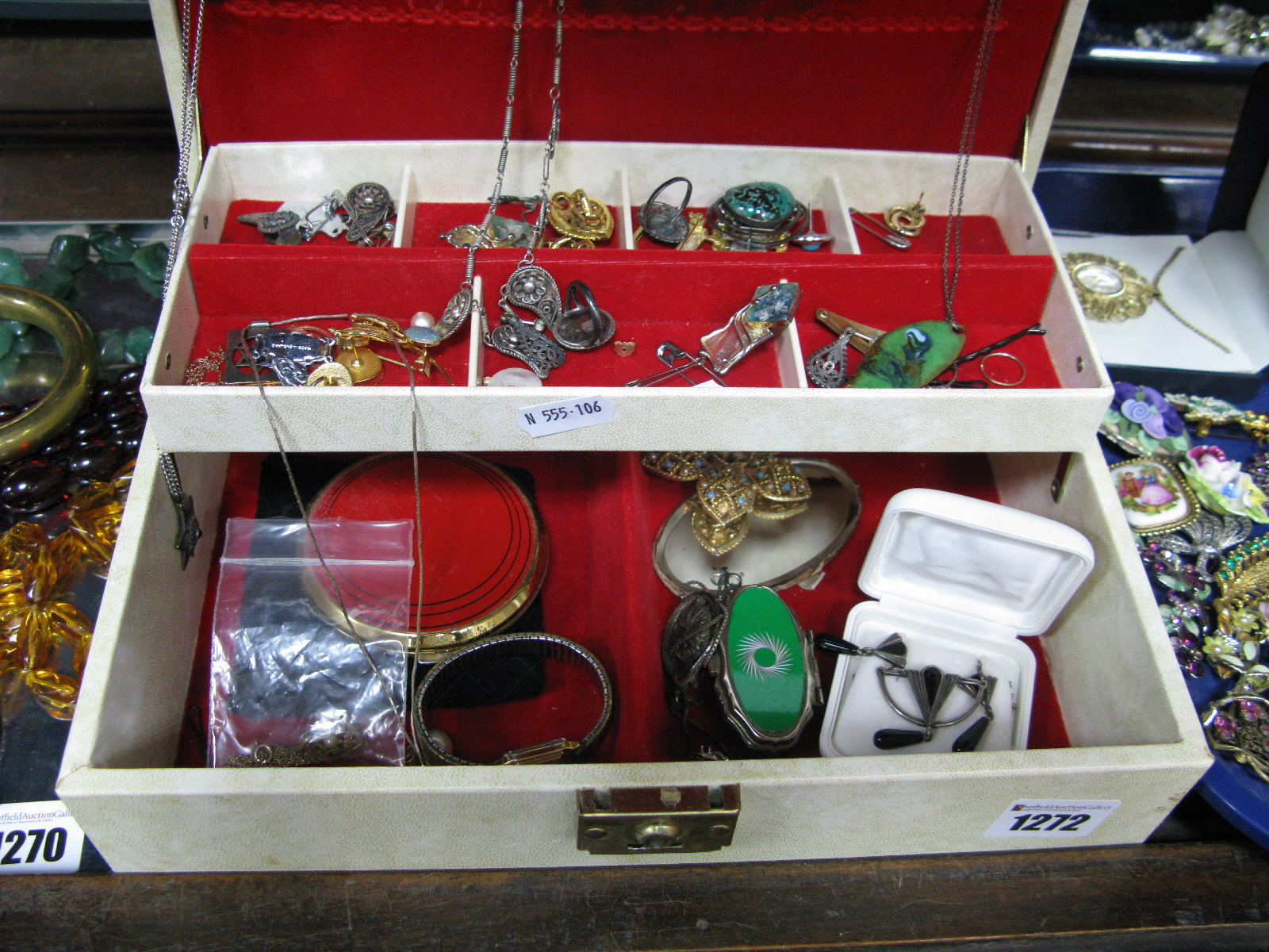 """Lot 1272 - A Mixed Lot of Assorted Costume Jewellery, including Art Deco style pendant and earring set, a """"Made"""