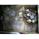 Lot 1023 - Twelve Long Stemmed Glasses and Matching Jug, mineral eggs, onyx book ends, wooden bowl, etc:- One
