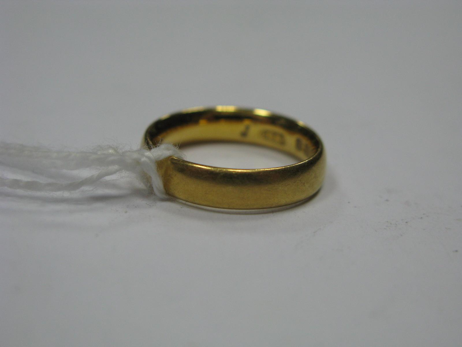 Lot 1356 - A 22ct Gold Plain Wedding Band.