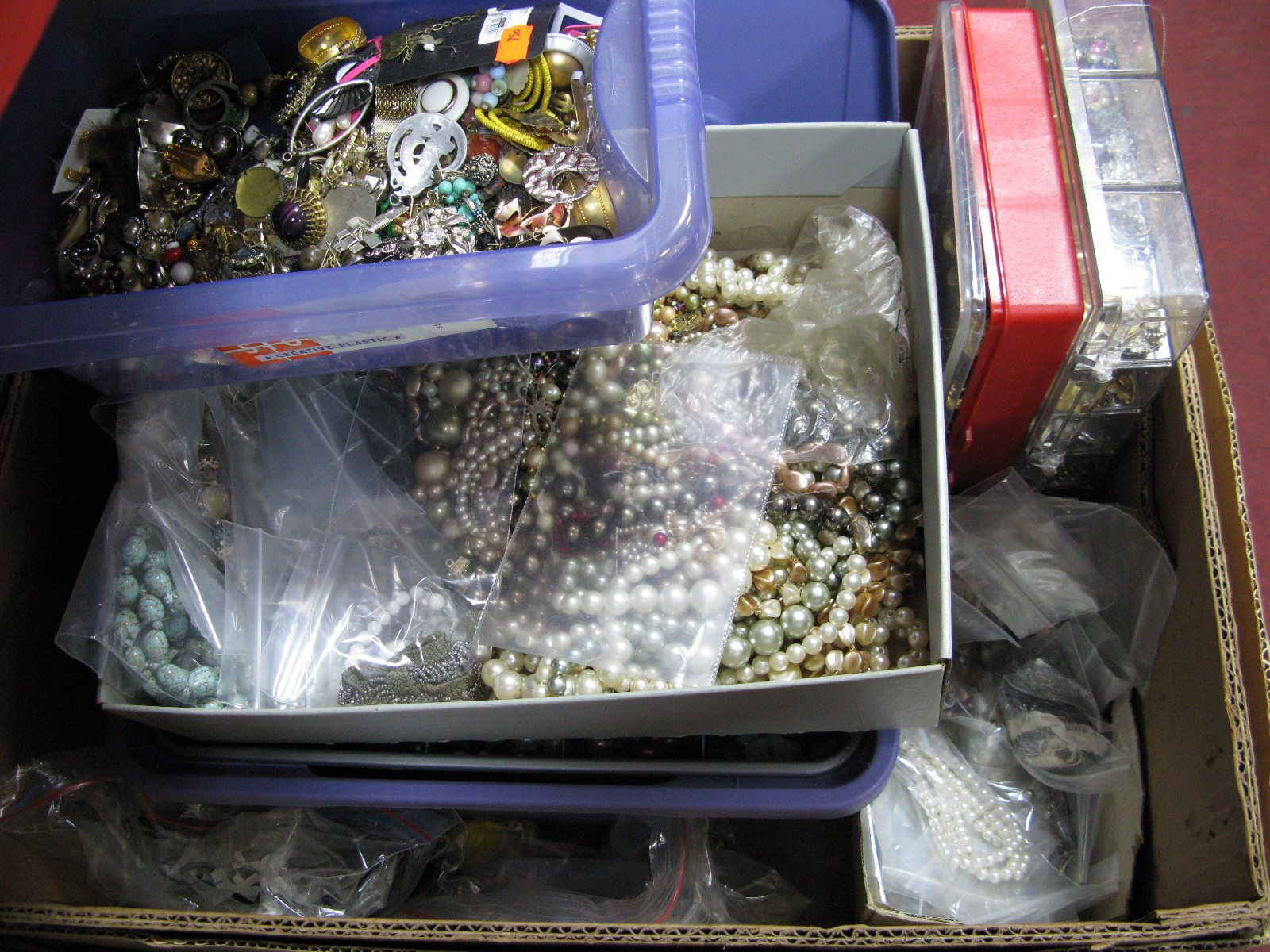 Lot 1022 - A Large Selection of Costume Jewellery Earrings, quantity of assorted brooch pins, fasteners,