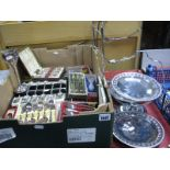 Lot 1047 - Plated Three Tier Cake Stand, (lacking plates), cased spoons, vase, carving set, boxed knives, etc.