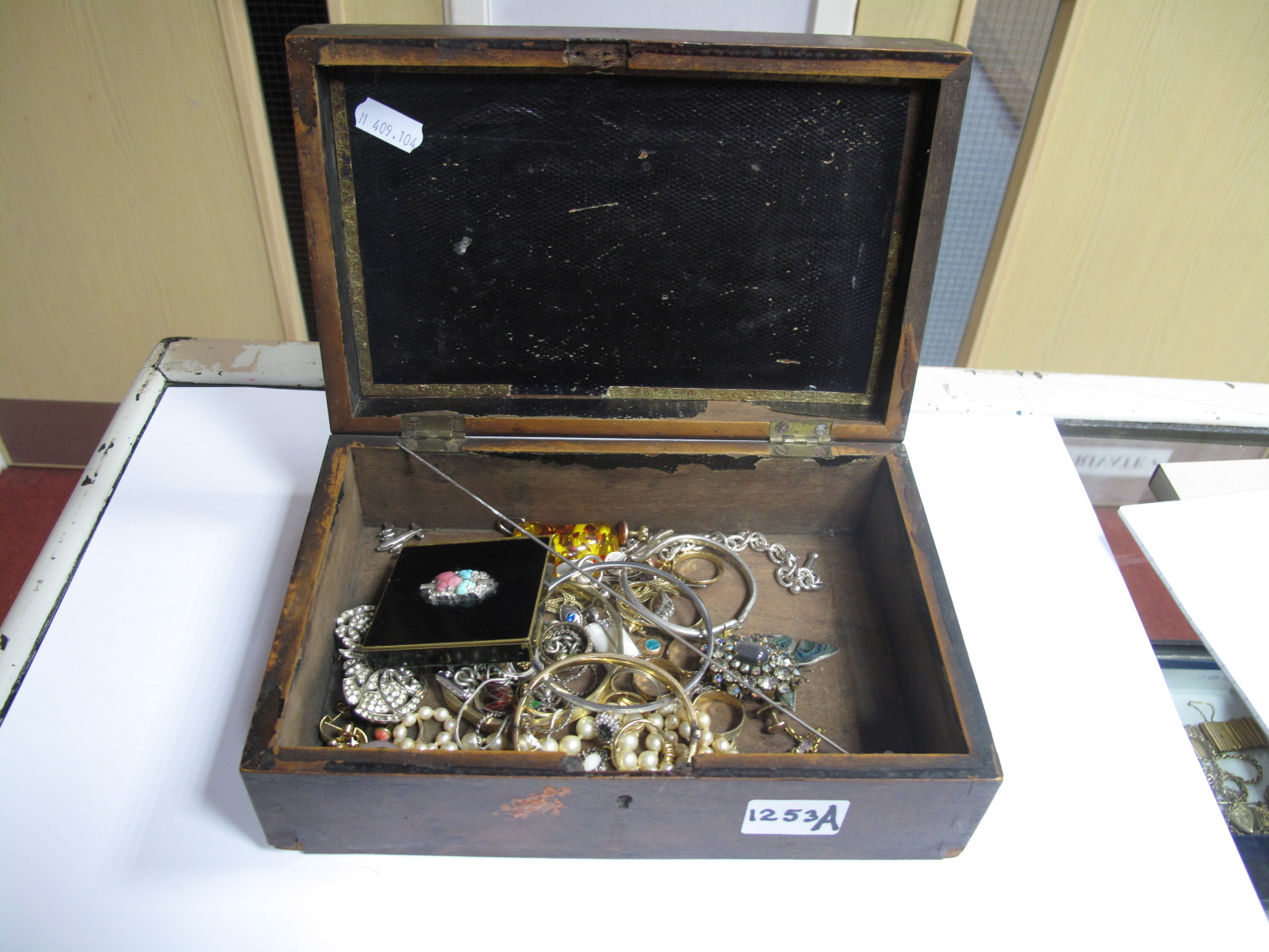 """Lot 1253A - Costume Dress Rings, including """"925""""; bangles, brooches, Charles Horner hat pin, pendants, etc,"""