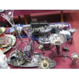Lot 1239 - A Five Flute Table Centrepiece, with leaf detail; together with a four flute epergne, coffee pot,