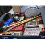 Lot 1050 - Tins, enamelled plaques, money boxes, etc:- One Box