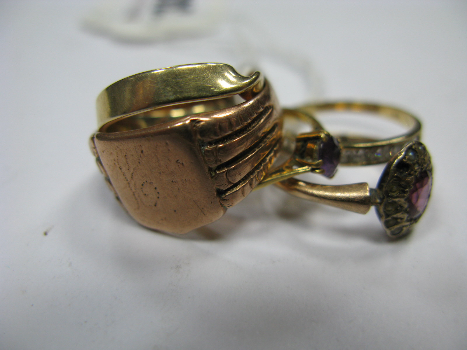 "Lot 1343 - A Chester Hallmarked 9ct Gold Gent's Style Signet Style Ring, a single stone ring stamped ""18ct"";"