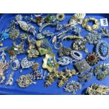 Lot 1268 - A Mixed Lot of Assorted Floral Costume Brooches, etc:- One Tray