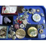 Lot 1254 - A Mixed Lot of Assorted Costume Brooches, including spider, butterfly, floral designs, etc; together
