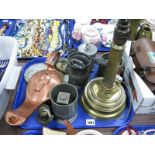 Lot 1091 - Copper Genie Lamp, pewter ware, brass lamp, etc:- One Tray