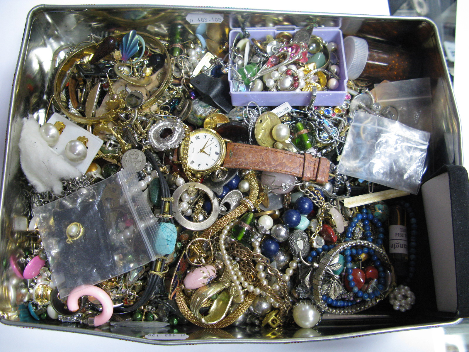 Lot 1265 - A Mixed Lot of Assorted Costume Jewellery, including earrings, beads, wristwatch, etc:- One Box