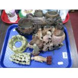 Lot 1097 - Six Various Carved Soapstone Figures:- One Tray
