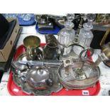 Lot 1085 - Edwardian Bottle Serving Set, (one absent, one damaged), Corinthian candlesticks, cutlery,