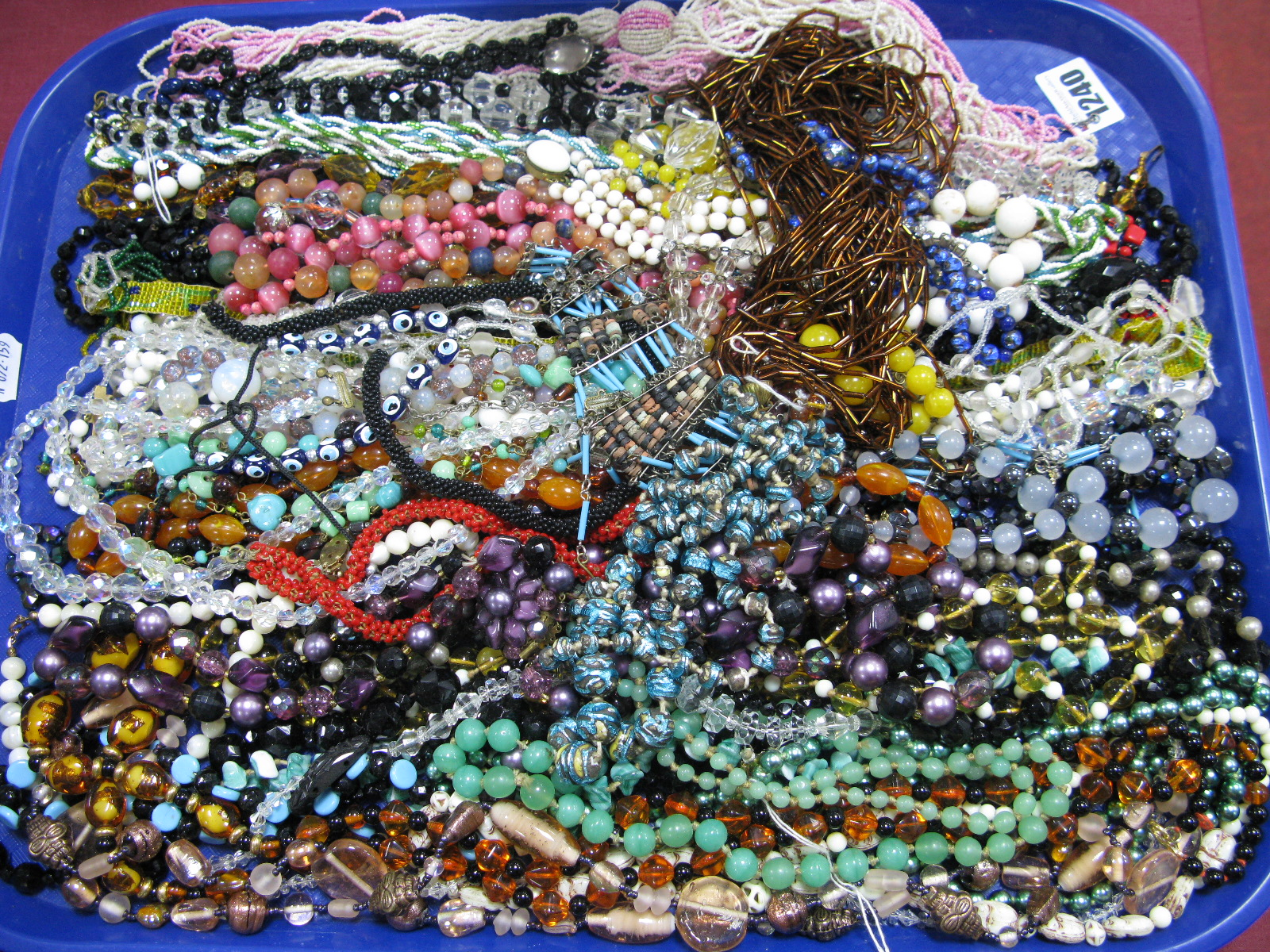 Lot 1240 - A Large Selection of Costume Bead Necklaces:- One Tray