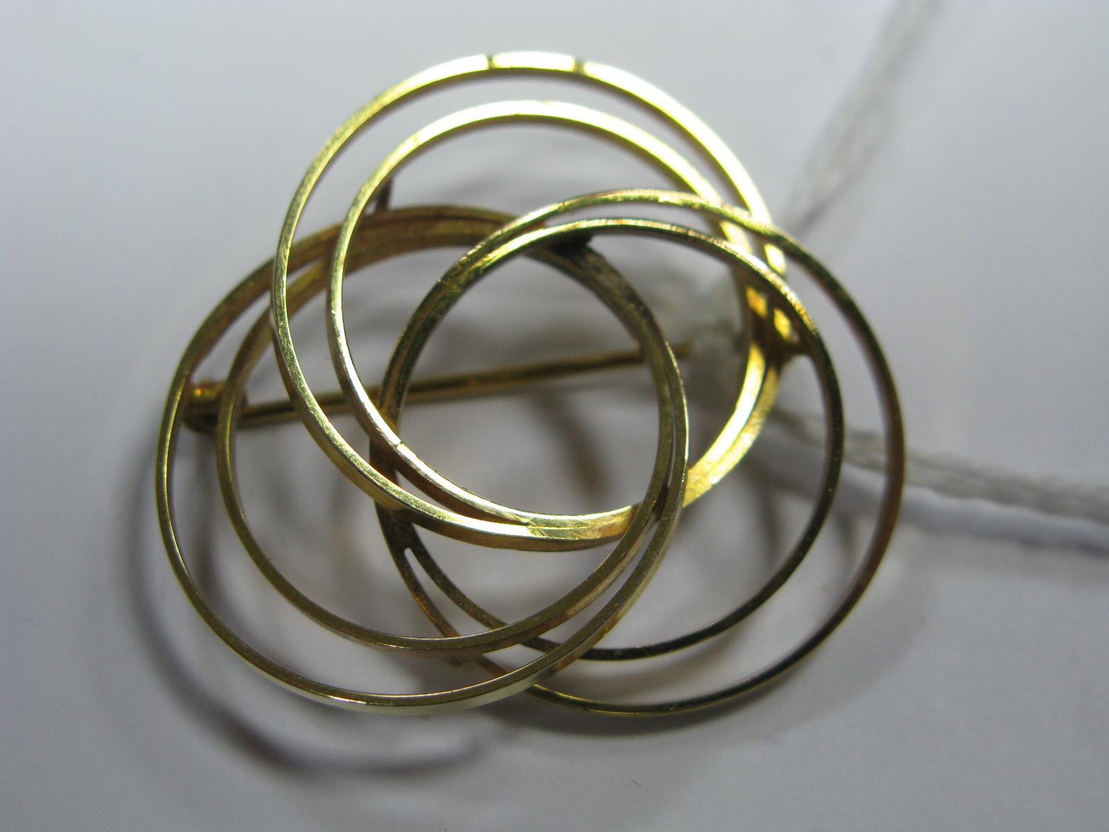 Lot 1364 - A 9ct Gold Modern Circular Design Brooch.