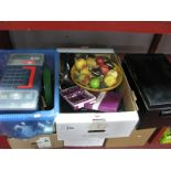 Lot 1065 - Stainless Steel Cutlery, tea set, tool box and contents, bowl of fruit centrepiece:- Two Boxes and a