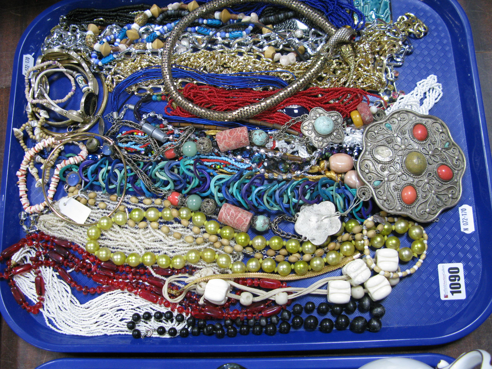 Lot 1090 - A Mixed Lot of Assorted Costume Necklaces, including beads, bangles and bracelets:- One Tray