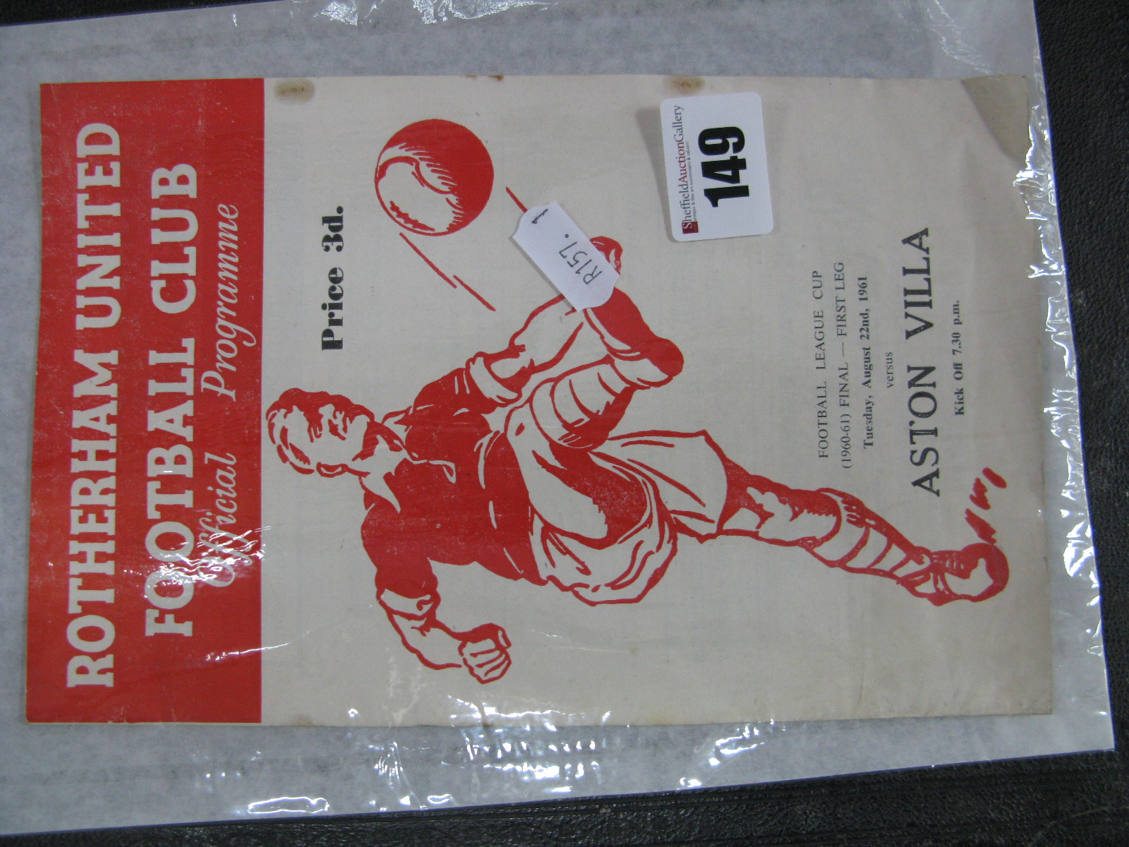 Lot 149 - 1961 League Cup Final Programme Rotherham United v. Aston Villa, dates August 22nd, 1961 (rusty