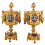 A PAIR OF FRENCH GILT BRONZE AND ENAMEL CENSERS, 19TH CENTURY