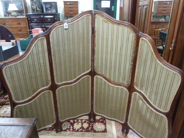 Lot 522 - Late Victorian mahogany silk panel 4 fold dressing screen