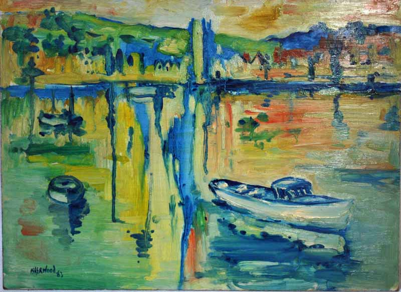 James Lawrence Isherwood (1917-1989), St Ives Harbour, signed oil on board, 40cm by 50cm