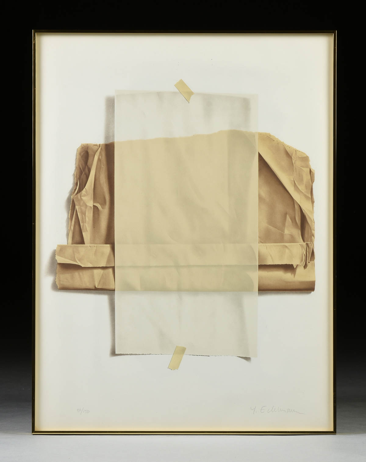 "Lot 27 - YRJO EDELMANN (Finnish 1941-2016) A PRINT, ""Wax and Brown Paper with Masking Tape,"" color lithograph"