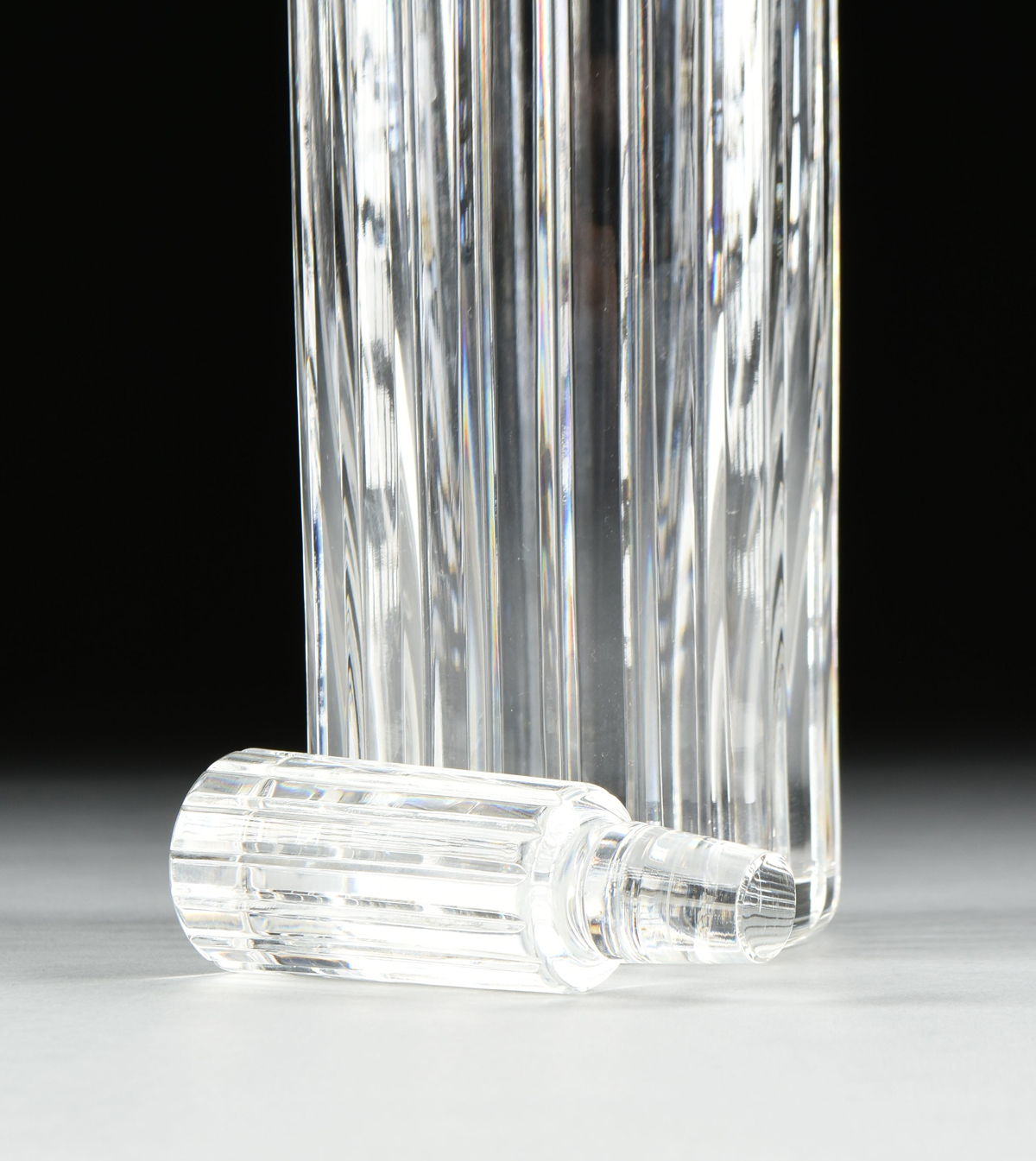 Lot 57 - A BACCARAT CRYSTAL ROUND WHISKEY DECANTER, HARMONIE PATTERN, SIGNED, 20TH CENTURY, the tapered