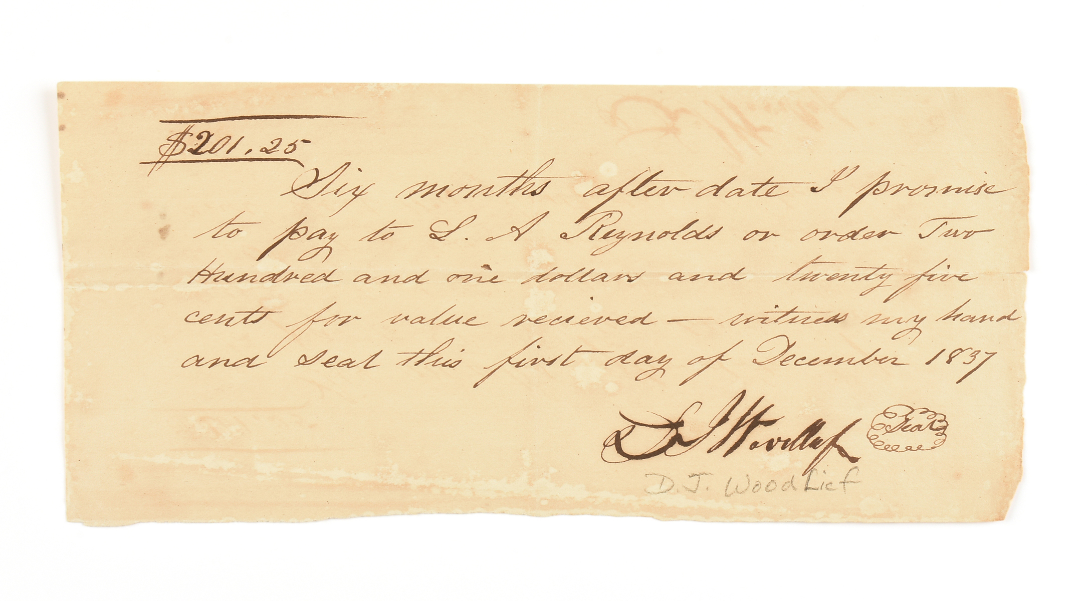 Lot 11 - A REPUBLIC OF TEXAS PROMISSARY NOTE, J. DEVERAUX WOODLIEF (1806-1854) SIGNED AND DATED DECEMBER 1,